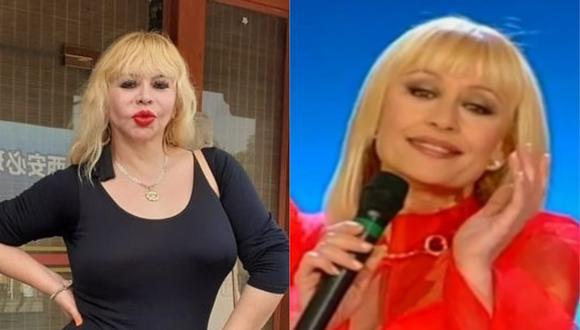 """Susy Díaz fue Raffaella Carrá en """"La máquina de la transformación"""" de """"Mujeres al mando"""". (Foto: @sudiazoficial/@raffaella.carra)"""