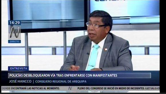 José Hancco cuestionó a Elmer Cáceres Llica por su posición sobre el proyecto Tia María. (Canal N)