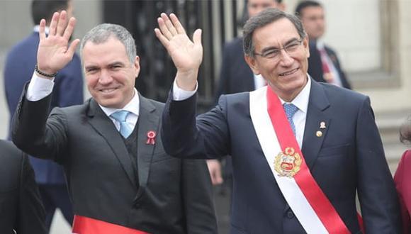 Salvador Del Solar, presidente del Consejo de Ministros, junto al presidente de la República, Martín Vizcarra. (Foto: GEC)