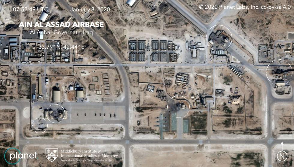 Imágenes por satélites muestran daños significativos en edificios de la base aérea Al Asad, en Irak, que alberga a tropas estadounidenses y que fue atacada anoche por Irán. Esta imagen satelital del 8 de enero de 2020, publicada por Planet Labs Inc, muestra daños a la base al-Asad en el oeste de Irak, después de ser alcanzada por cohetes De Irán.