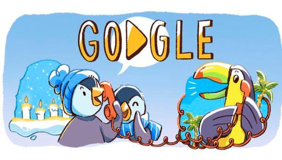 El logo de Google se transformó en tres viñetas que relatan que los pequeños animales se encuentran emocionados por pasar tiempo con sus familiares. (Google)