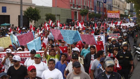 Los manifestantes recorrieron las principales calles del Centro de Lima. (Foto: GEC / Piko Tamashiro)