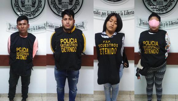 Los cuatro delincuentes fueron capturados en flagrancia. (Foto: PNP)