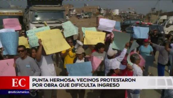 Obras en Punta Hermosa incomodan a vecinos. (Foto: Captura de video / América Noticias)