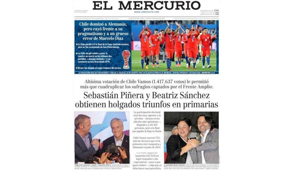 """El Mercurio: """"Chile dominó a Alemania, pero cayó frente a su pragmatismo"""". (mer.cl)"""