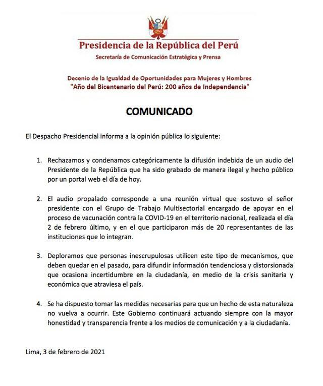 Comunicado de la Presidencia. (Foto: Presidencia de la República)