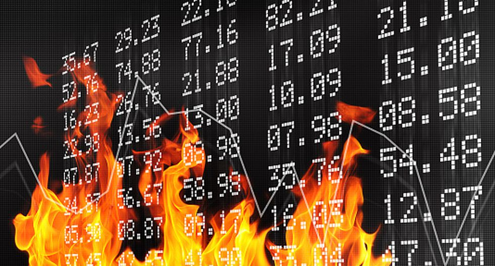 Conceptual image of stock exchange numbers and flames