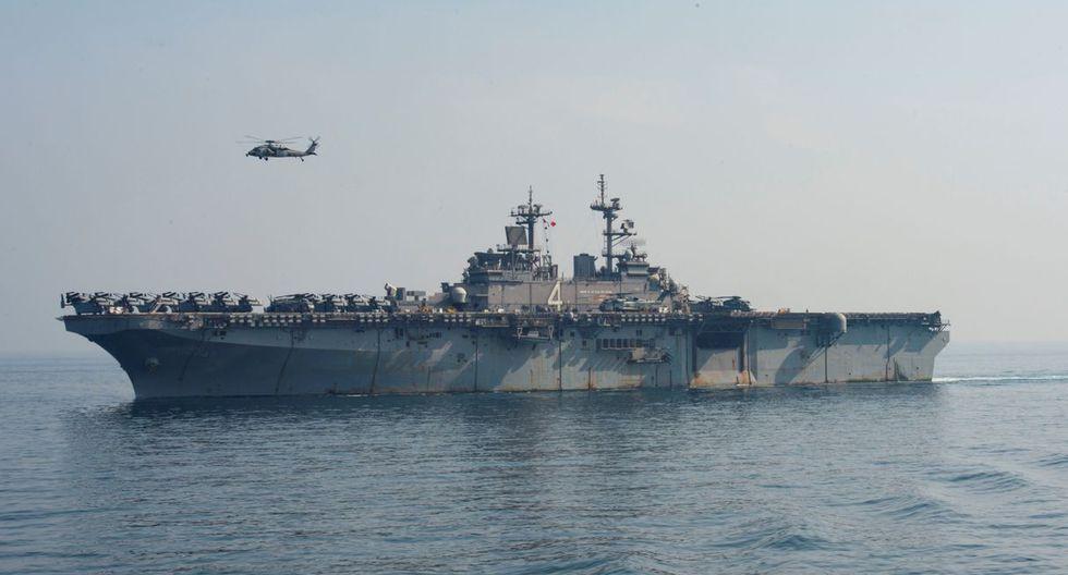 Buque de asalto anfibio USS Boxer de la Armada de Estados Unidos abre fuego contra drones de Irán. (Foto referencial: Reuters)