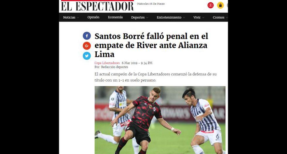 La reacción de los medios internacionales tras el empate entre Alianza Lima y River Plate. (El Espectador, de Colombia)
