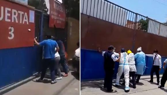 Las personas golpeaban, aparentemente, la puerta por una falta de atención en el nosocomio. (Foto: Captura video Twitter/Facebook)