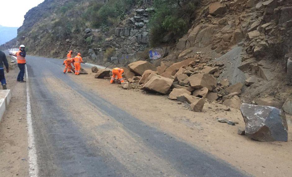 Sismo de magnitud 4.6 registrado esta madrugada en la provincia de Huancayo, región Junín, provocó deslizamientos en la carretera a Huancavelica. (Foto: Provías)