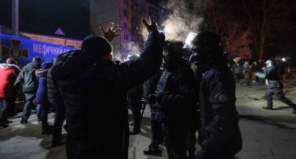 """""""La situación está bastante acalorada"""", dijo Yuri Sulayev, vocero de la policía regional de Poltava. (AFP)."""