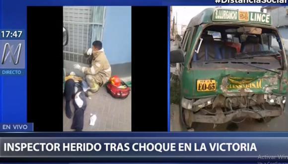 El inspector de tránsito atropellado fue llevado al hospital Dos de Mayo. (Imagen: Canal N)