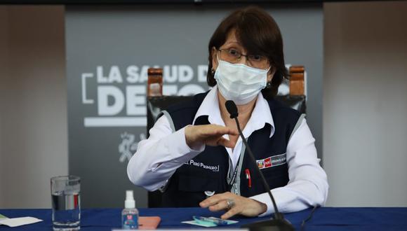 La ministra de Salud Pilar Mazzetti ofrece una conferencia con medios de prensa ayer, 8 de enero. (Foto: Britanie Arroyo / @photo.gec)