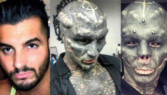 Anthony Loffredo de Francia quiere cumplir su sueño y más grande objetivo: tener la apariencia de un alienígena.  Foto: The Black Alien Project/Instagram