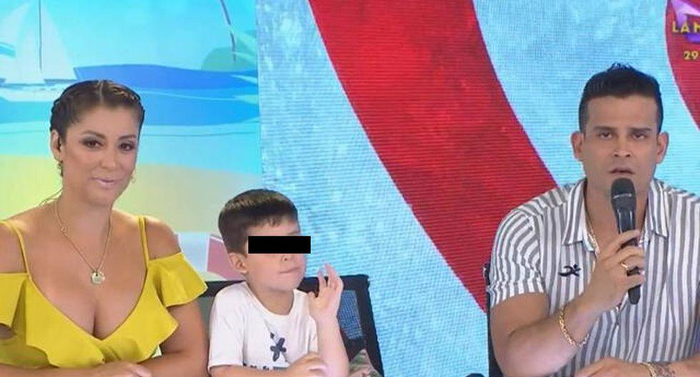 Christian Domínguez y Karla Tarazona se muestran juntos con su hijo por primera vez en TV. (Captura de Pantalla)