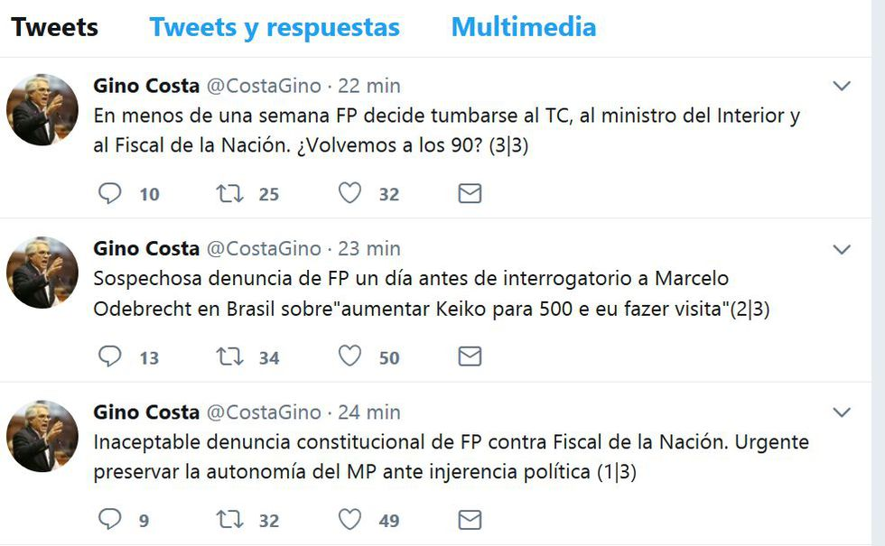 """Gino Costa señala que el fujimorismo busca """"tumbarse"""" al fiscal de la Nación."""