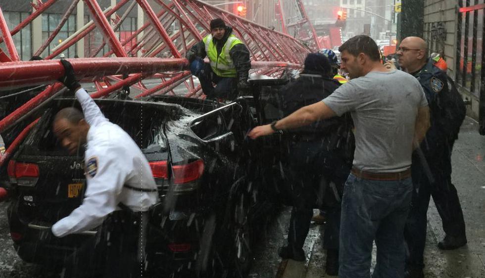 La caída de una grúa en New York. (USI)