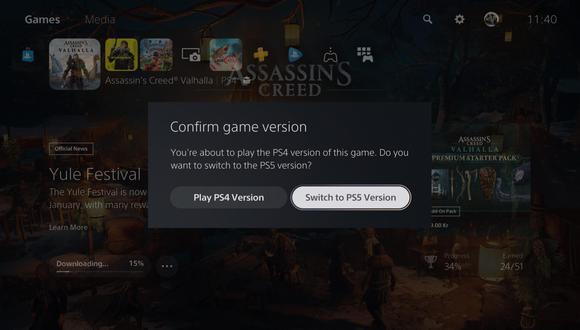 La nueva función permite seleccionar la versión de PlayStation 5 para jugar. (Difusión)