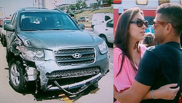 GRAN SUSTO.Natalie fue auxiliada por Yaco tras haber chocado su auto. (Imágenes de TV)