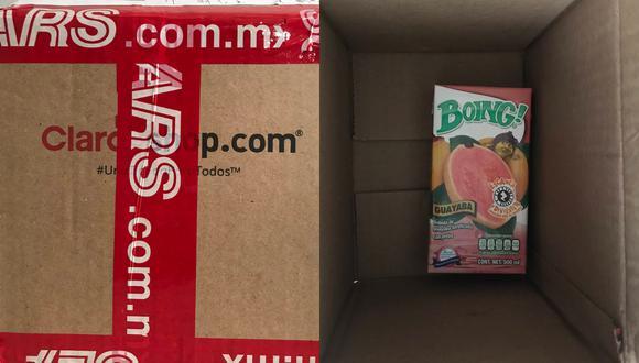 Un joven en México compró un iPhone SE por Internet y recibió a cambio una caja de jugo.   Crédito: @chapatoi / Twitter.