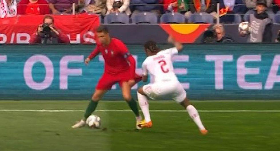 Cristiano Ronaldo se lució con una acción individual en duelo ante Suiza. (Captura: DirecTV Sports)