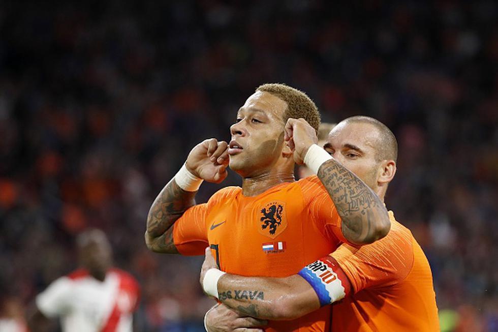 Memphis Depay anotó el 1-1 en amistoso en Ámsterdam. (Getty)
