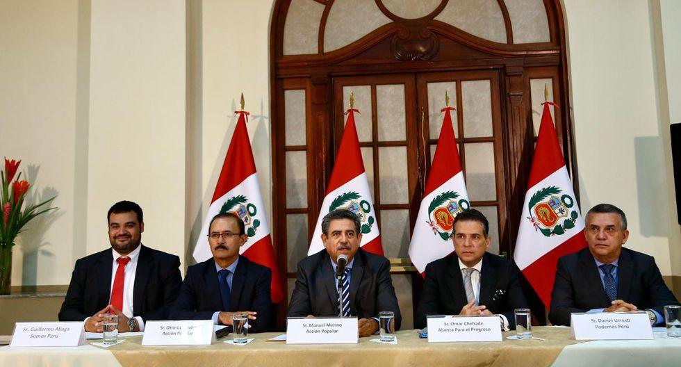Representantes de SP, AP, APP y PP firmaron acuerdo de gobernabilidad. (Hugo Curotto/GEC)