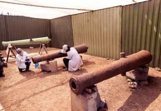 Centro de Lima: recuperan cañones de guerra usados en la época virreinal