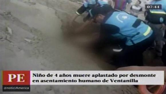 Niño de 4 años fue encontrado muerto en un descampado de Ventanilla. (Captura de video)