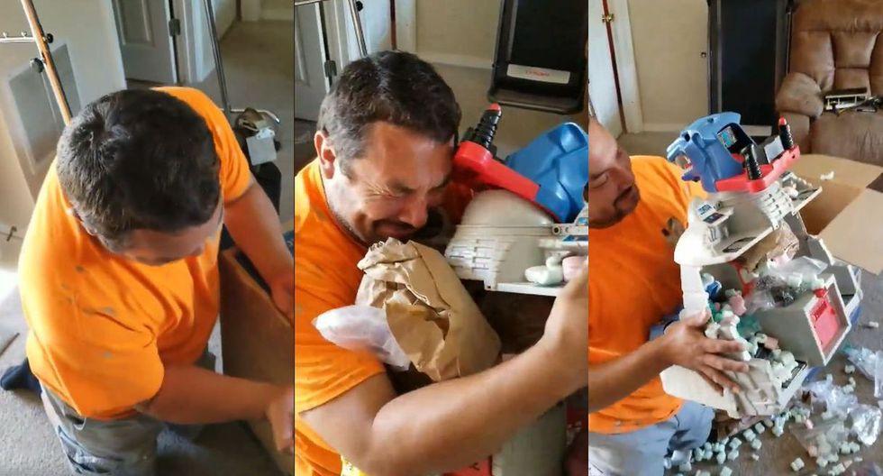 """En Facebook fue publicado el video de un hombre en EE.UU. que recibe el """"Cubil Felino"""" de los ThunderCats y llora emocionado. Su conmovedora reacción impactó en los usuarios y volvió viral al clip. (Foto: Captura)"""