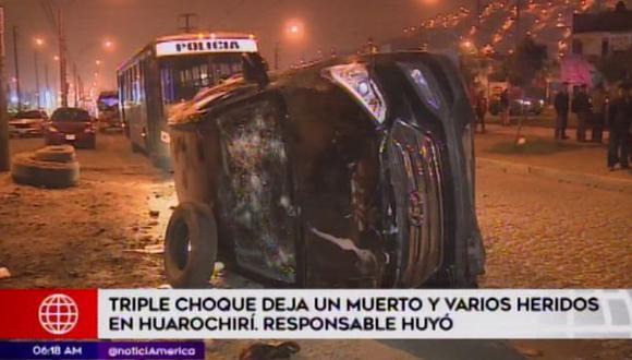 Una persona murió a causa del accidente. (Foto: Captura/América Noticias)