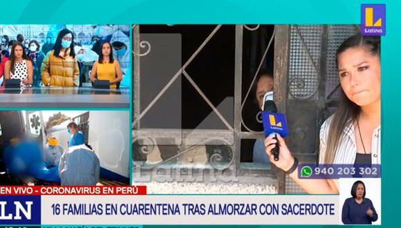 Familias se encuentran en cuarentena en VMT tras almorzar con el sacerdote que tiene coronavirus. (Captura de TV)