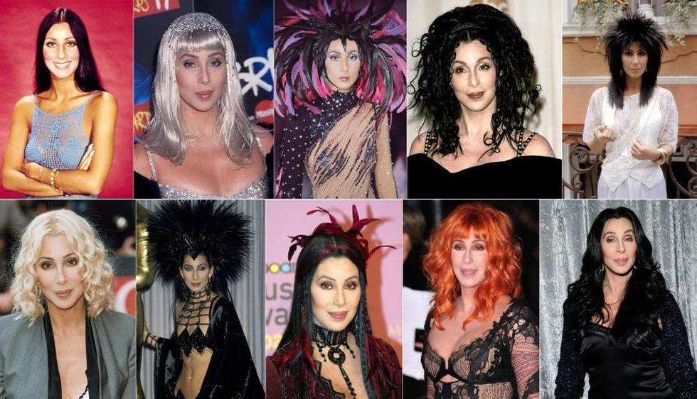 Aunque el look habitual de Cher es una melena larga, lisa y morena, también se le ha podido  ver pelirroja, con el pelo ondulado y, una que otra vez, con flequillo. (Internet)