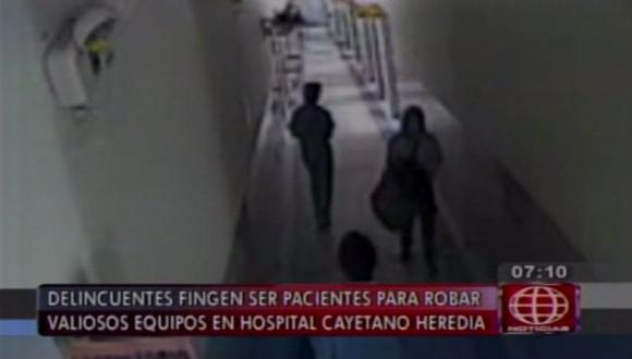 Roban dos equipos valorizados en US$30 mil en el Hospital Cayetano Heredia. (América Noticias)