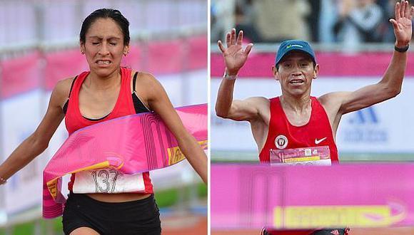 Gladys Tejeda y Raúl Pacheco triunfaron en la Maratón de México. (AFP)