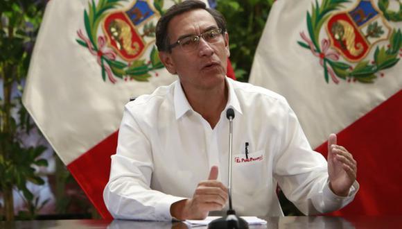 El presidente Martín Vizcarra en uno de sus pronunciamiento del mediodía. (Palacio)