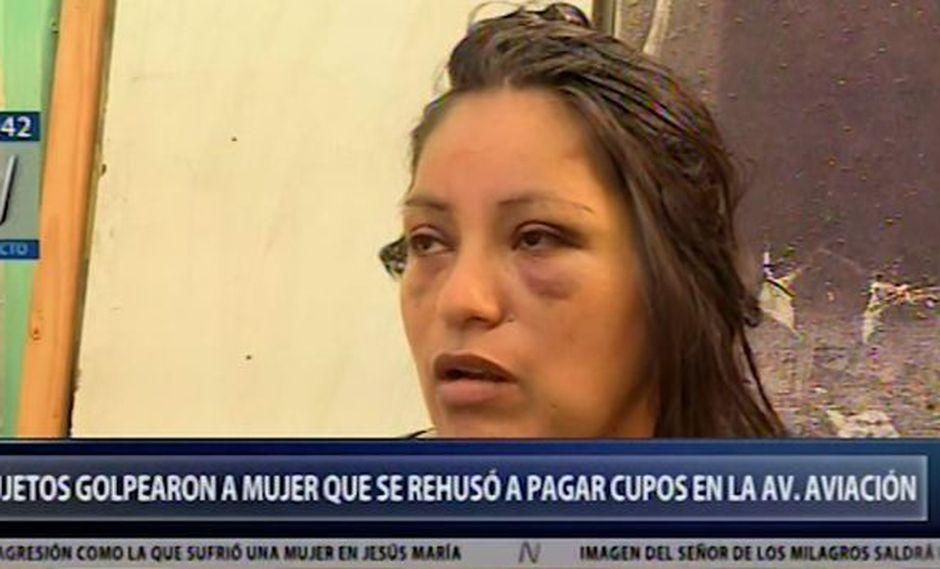 Vendedora ambulante identificada como Nieves Rojas fue agredida porque se rehusó a pagar un cupo (Captura: Canal N)