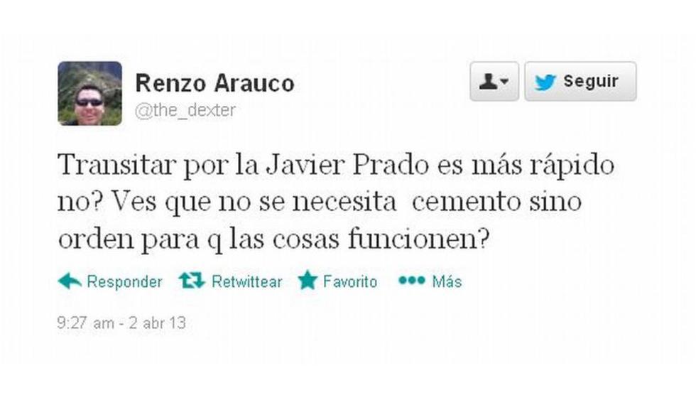 Usuarios se muestran a favor del nuevo plan vehicular en la Av. Javier Prado. Captura: twitter.com