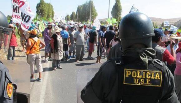 Las protestas en Arequipa contra el proyecto Tía María continúan. (Foto: Andina/Referencial)