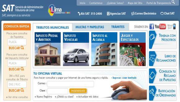 En la renovada página, el usuario puede acceder a diversos canales de atención. (www.sat.gob.pe)