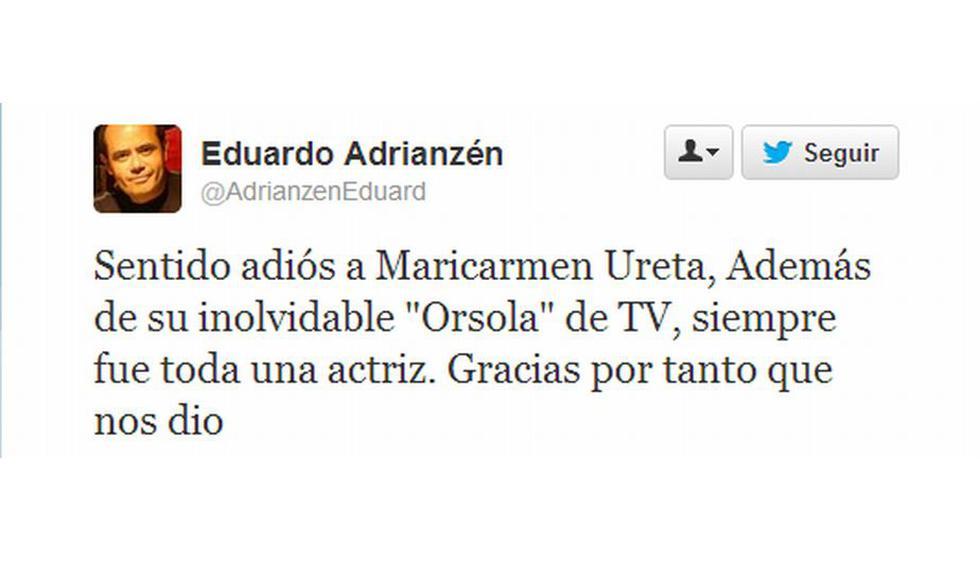 El productor Eduardo Adrianzén lamentó el fallecimiento de la popular actriz cómica. (Twitter)