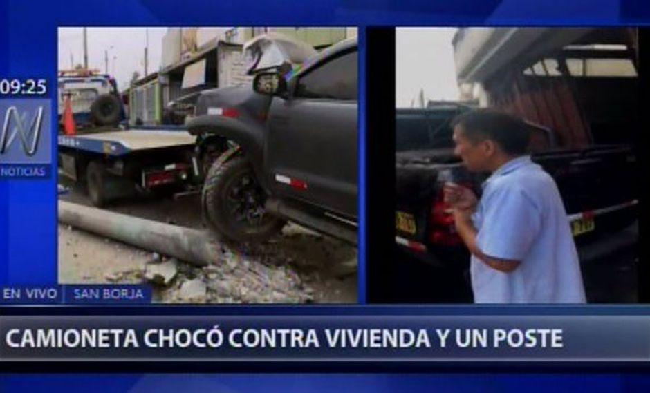 Choque se registró en San Borja. (Foto: Captura de video / Canal N)