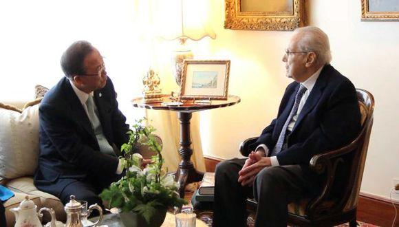 Ban Ki-moon y Javier Pérez de Cuéllar conversaron en Lima. (Difusión)