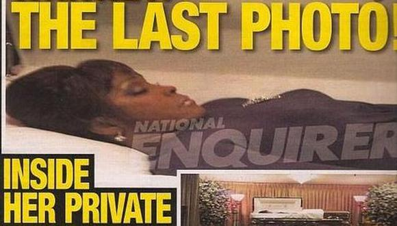 Whitney Houston en su funeral. (National Enquirer)