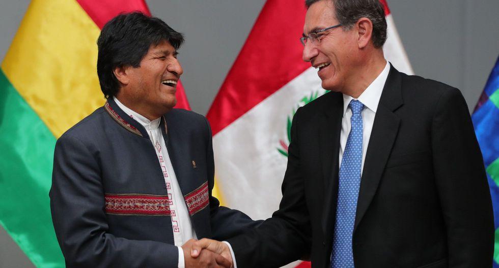El presidente Martín Vizcarra y Evo Morales durante una reunión del Gabinete Binacional Perú-Bolivia. (Foto: EFE)