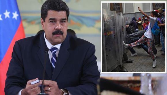 El chavismo ataca. Decenas de personas vinculadas al oficialismo obstaculizaron el ingreso al Congreso a miembros de la oposición entre golpes e insultos. Asimismo, manifestaron su respaldo al presidente Nicolás Maduro. (EFE)