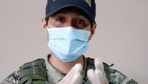 Suboficial de tercera PNP, Tomy Saavedra Díaz, logró superar el COVID-19 y envió mensaje de aliento. (Foto: Mininter)