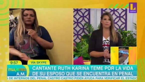 Ruth Karina llora por su esposo preso en penal Castro Castro tras motín. (Foto: Captura de video)