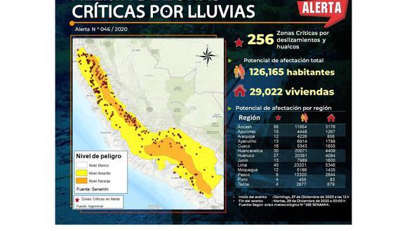 Ingemmet reporta que 256 zonas críticas se encuentran en alerta por lluvias y huaicos (Foto: Andina / Ingemmet)